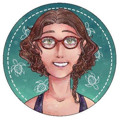 avatar Sophie de Abreu sur fond vert avec des tortues