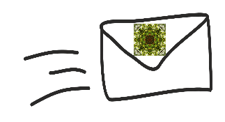 enveloppe dessinée avec la vignette en forme de kaléidoscope utilisée ailleurs dans le site. 3 traits sont dessinés à gauche pour indiquer que la lettre est en chemin