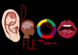 Logo PhonFLE, les lettres sont écrites autour d'images : 1 oreille, 1 cerveau, le logo de la francophonie, une bouche
