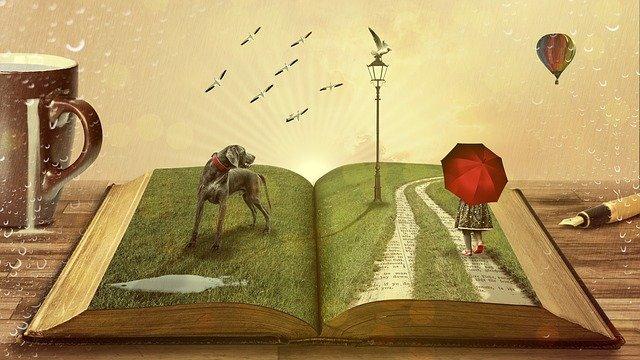 """Illustration pour l'idée """"Formations au conte et projets"""" Livre ouvert avec un chien et une petite fille avec un parapluie qui semblent sortie du livre pour intégrer la réalité autour (table, tasse, stylo)"""