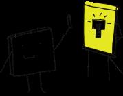Carré qui tient un crayon devant un tableau blanc sur lequel est dessinée une ampoule blanche sur fond jaune